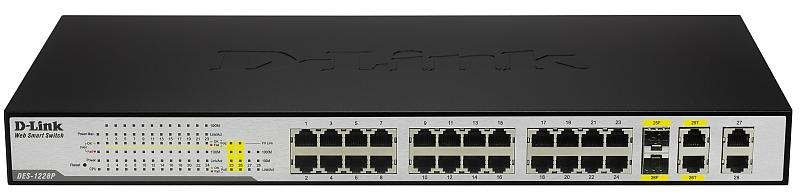 Картинка коммутатор d-link des-1228p smart switch 10 / 100 24-port, 10/100/1000 4-port(2-port combo sfp)(poе) в Хабаровске.